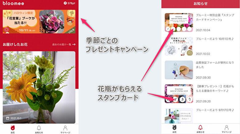 ブルーミーのアプリ 使い方 お花のお届けやキャンペーン情報が届く